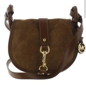 Michael Kors Womens Jamie Saddle Suede Handbag